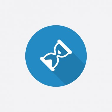 hourglass Flat Blue Simple Icon with long shado