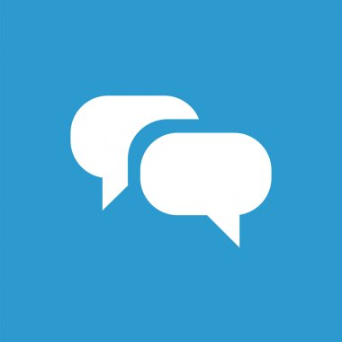 Conversation icon, white on the blue background