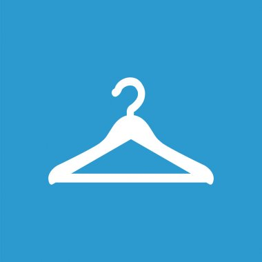 Hanger icon, white on the blue background