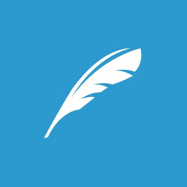 feather icon, white on the blue background