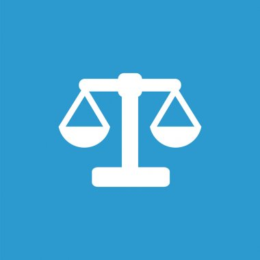 scales icon, white on the blue background