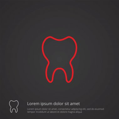 tooth outline symbol, red on dark background, logo templat