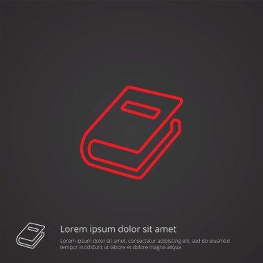 book outline symbol, red on dark background, logo templat