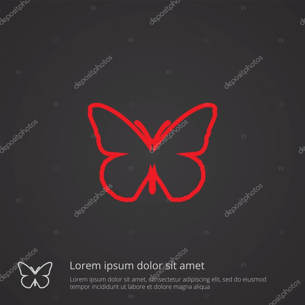Butterfly outline symbol red on dark background logo templat butterfly outline symbol red on dark background logo templat stock vector biocorpaavc Images