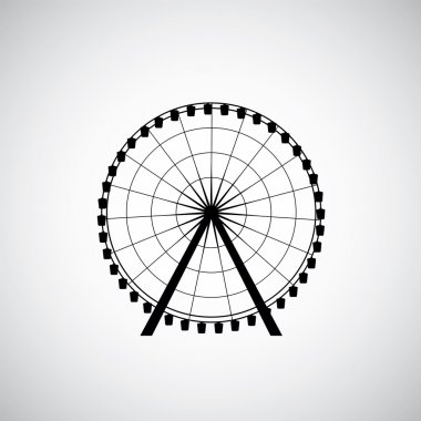 Ferris Wheel from amusement park, vector silhouett