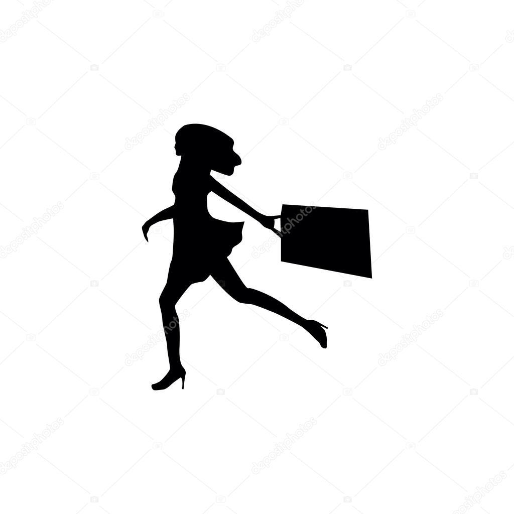 Frauen-Shopping-Silhouetten - Vektorgrafik: lizenzfreie