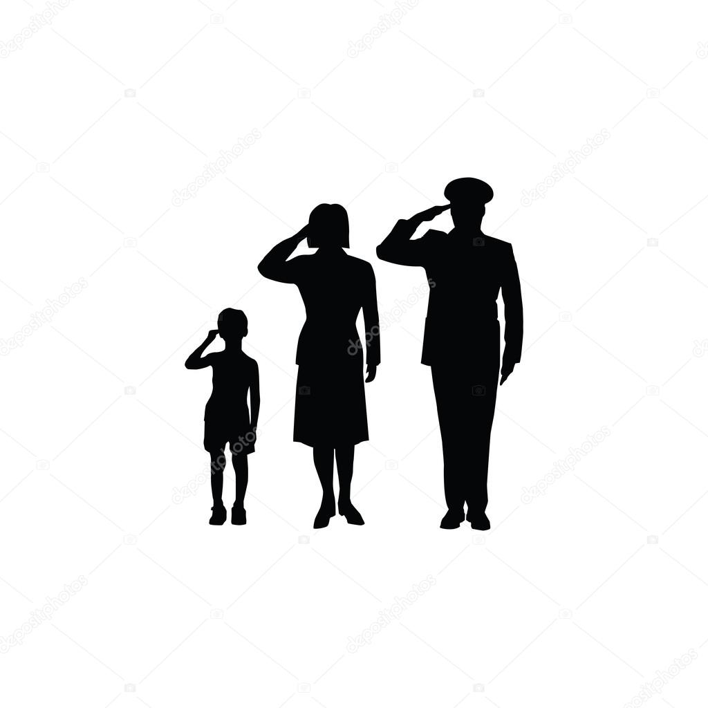 soldier family salute stock vector 59383833