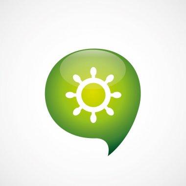 ship wheel icon green think bubble symbol log