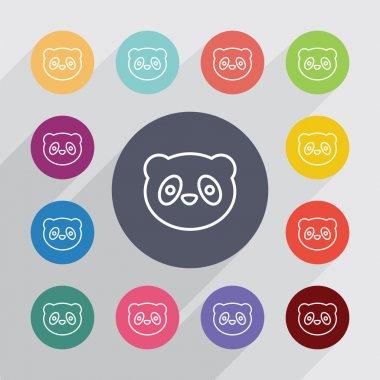 panda outline circle, flat icons se