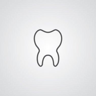 tooth outline symbol, dark on white background, logo templat