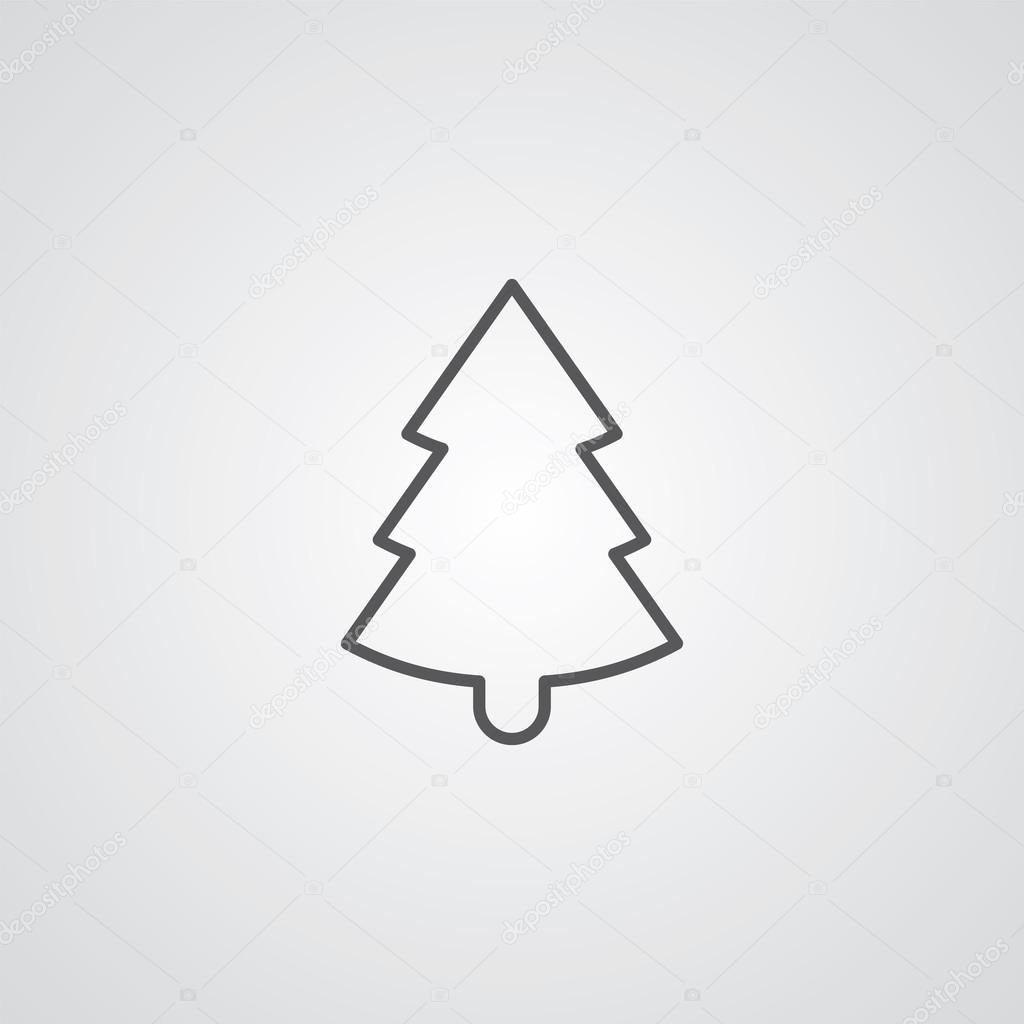 Christmas tree outline symbol, dark on white background ...