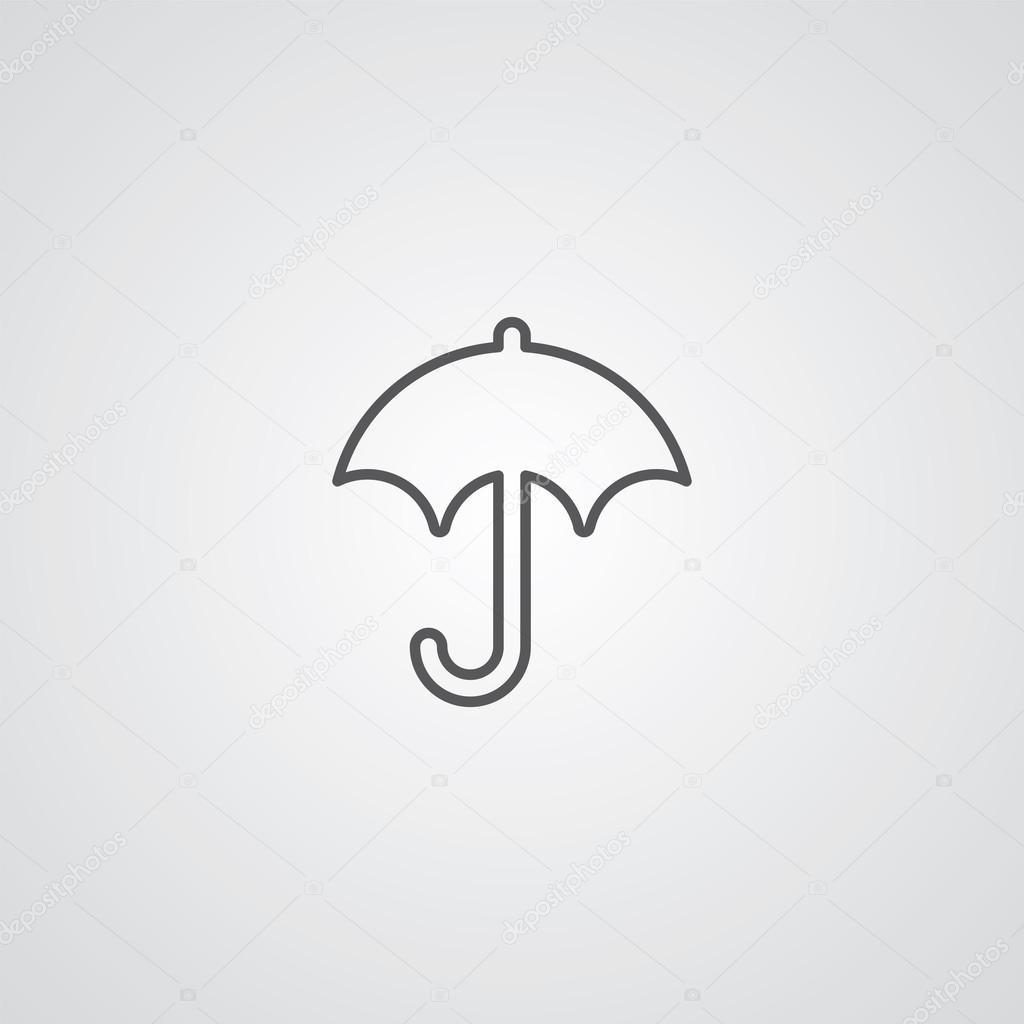 Regenschirm Gliederungssymbol dunkel auf weißem Hintergrund, Logo ...