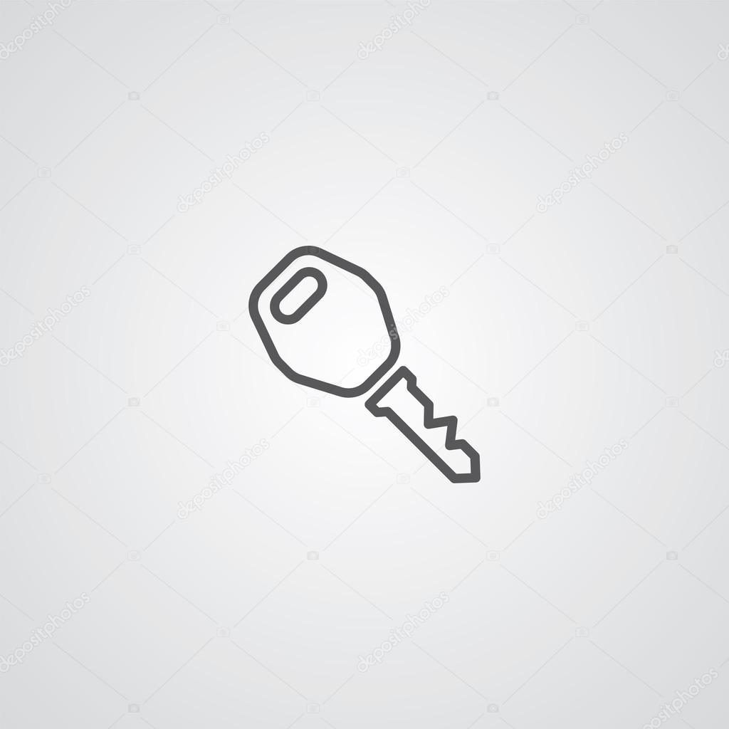 Simbolo Dellautomobile Di Chiave Contorno Sottile Scuro Su Sfondo