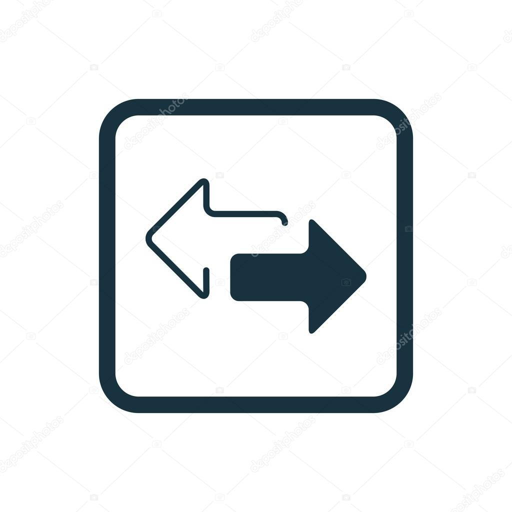 2 Side Arrow Icon Rounded Squares Button Stock Vector