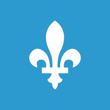 Fleur-de-lys outline icon, isolated, white on the blue background. Exclusive Symbol clip art vector