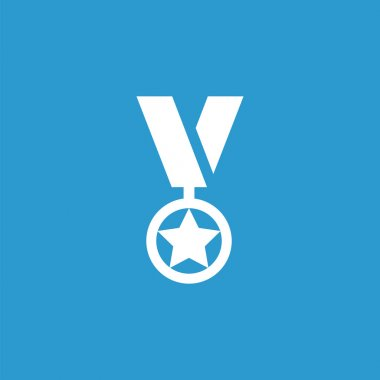 medal outline icon, isolated, white on the blue backgroun
