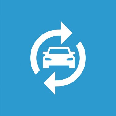 auto service icon, isolated, white on the blue backgroun