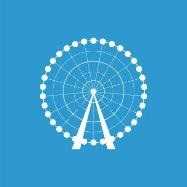 Ferris Wheel icon, isolated, white on the blue backgroun