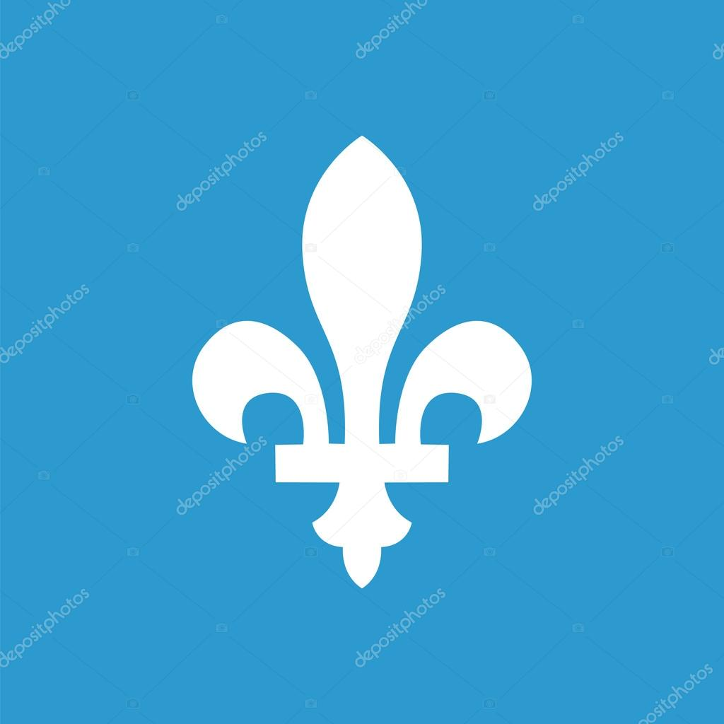 Fleur De Lys Outline Icon Isolated White On The Blue Backgroun