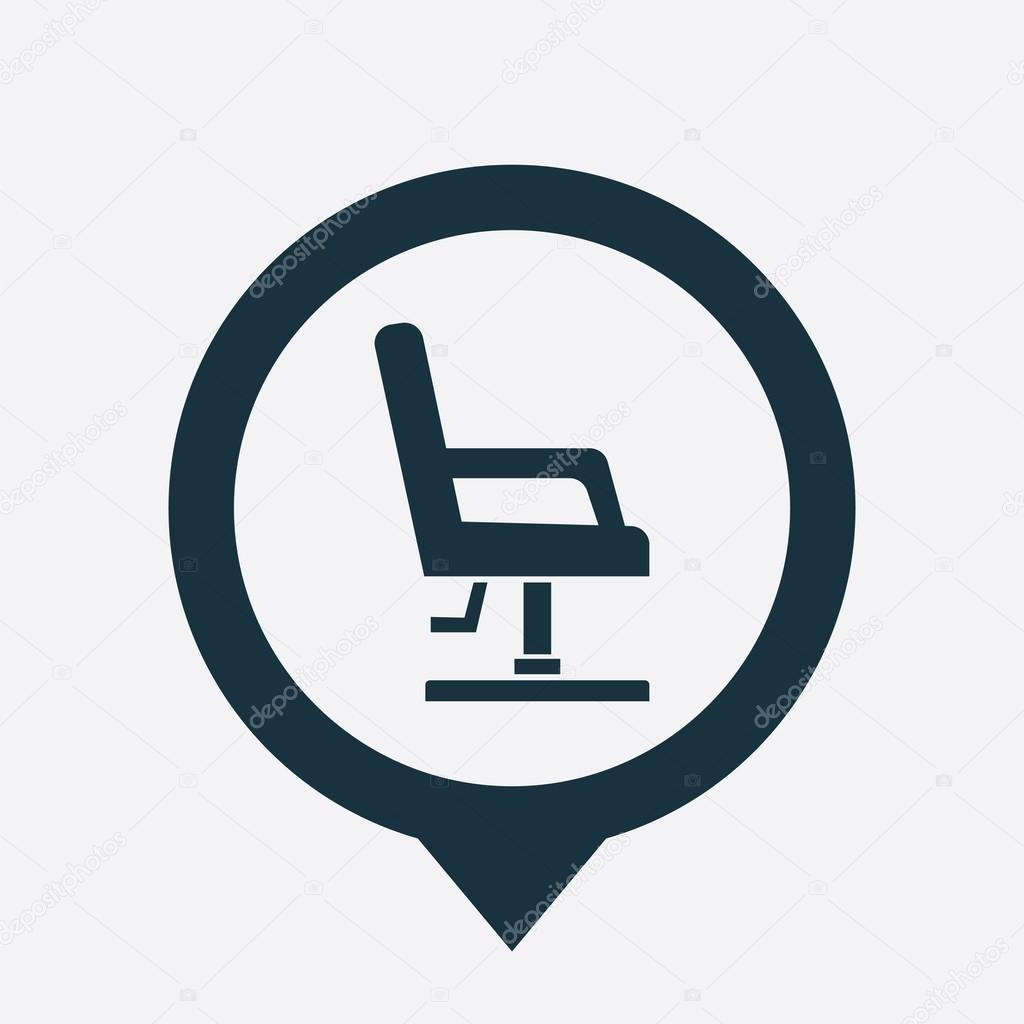 Barber chair vector - Barber Chair Icon Map Pin On White Backgroun Vector By Rashad_ashurov