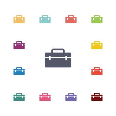 tools box flat icons set
