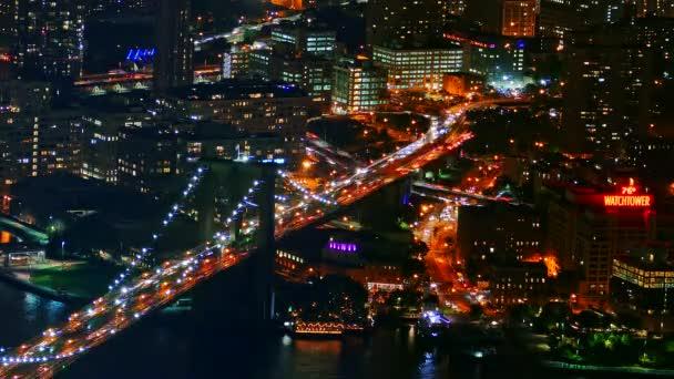 Illuminated Brooklyn Bridge, Manhattan, USA