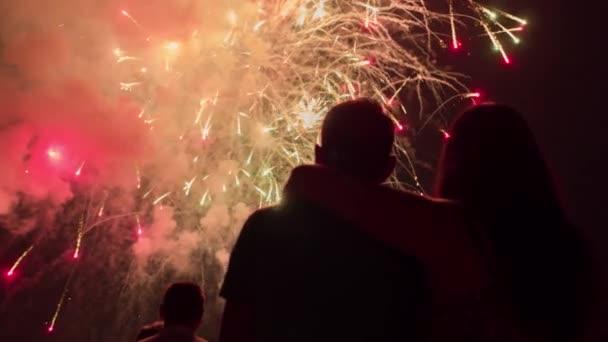 Nádherný ohňostroj jako muž a žena svinský siluety v New Years Eve romantický vztah koncepce