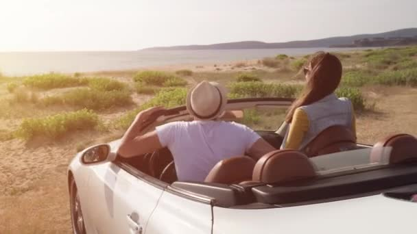 Romantic Young Love Honeymoon Couple Arriving At Beach Exiting Car Excited Happy Joy Travel Destination Location Seaside