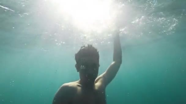 Young Man Drowning Underwater Sinking Dyeing Danger Depression Fear Desperation Concept Deep Water Sea Ocean Trouble Gopro Slow Motion HD