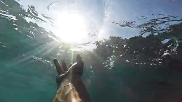 Drowning Deep Waters Underwater Hand Reaching Sun Salvation Desperation Failure Hopelessness Help Drown Victim Danger Swimmer Afraid Survival Concept Gopro HD