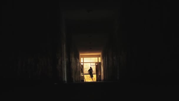 Man Runnning in Dark Tunnel Danger Concept HD