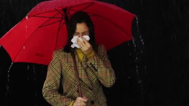 Sick Woman Holding Umbrella Nose Symptoms