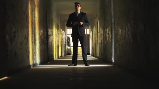 Handsome Man in Suit Confident Look Dark Tunnel HD