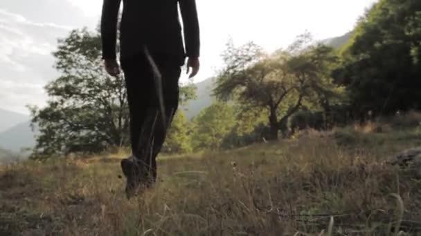 Businessman Walking Toward Success Sun NAture Background HD