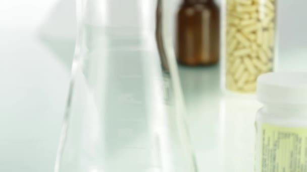 Chemistry and Health Pills Bottles Medicine Concept