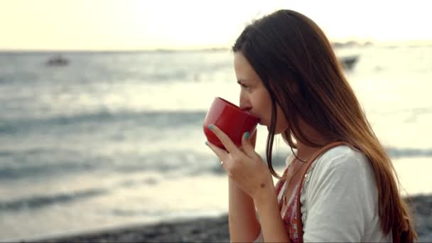 Drinking Coffee At The Beach Sunrise Sunset Summer Beautiful Young Woman  Happiness Joy Beautiful Coastline Mug Relaxation Peace Uhd