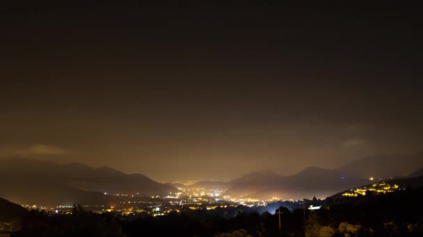 Landscape  of Night City with clouds on starry sky