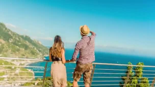 Ecstatic Happy Joyful Young Cute Tourist Couple Enjoying Scenery Mountain Ocean Tropical Island Location Joy Jumping Running Love Romance Happiness Happy Concept Uhd