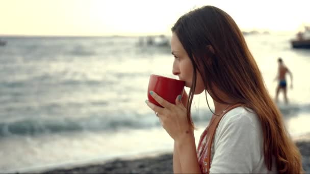 Beautiful Young Woman Drinking Coffee Beach Sea Shore View Boats Pier Relaxed Relaxing Vacation Holiday Freedom Lifestyle Travel Uhd