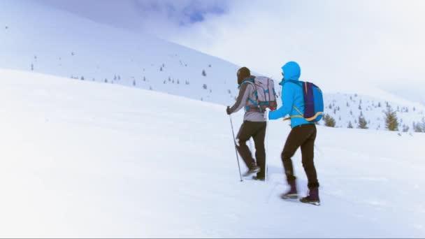 Aktives Paar wandert in den Bergen