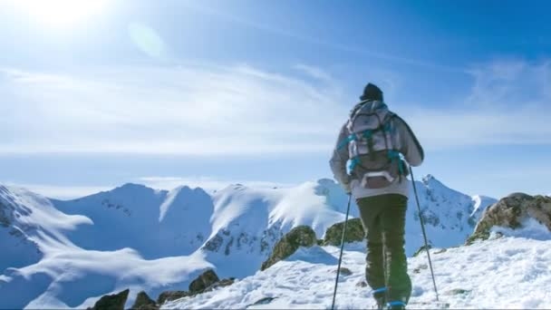 Hiking Trekking Winter Nature White Blue Beautiful Mountains With Snow Hiker Adventure Mountain Travel Outdoor Extreme Sport Cold Active Ice Landscape Sky Backpacker People Trek Mountaineering Hike Climbing High