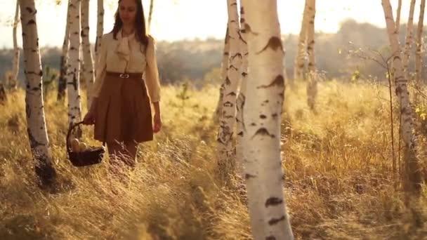 Woman Walking Autumn Forest