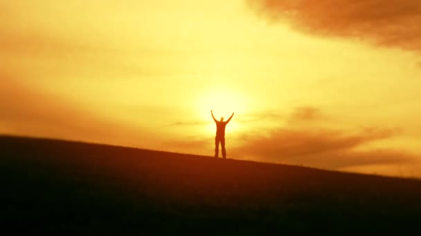 Businessman celebrates victory at sunset