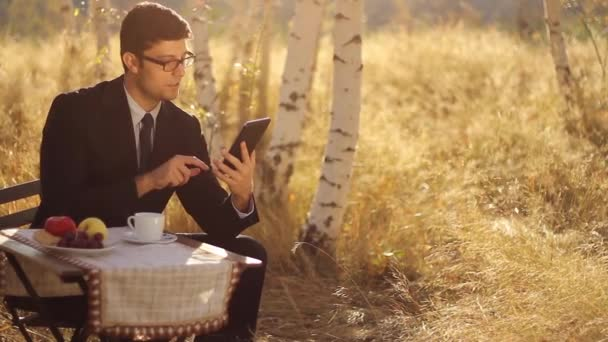 Business Man using pc in nature