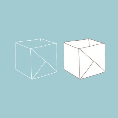 Origami paper box. Vector illustration. Empty cardboard container template. icon