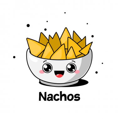 Cartoon bowl of nachos. Mexican food. Vector illustration. icon