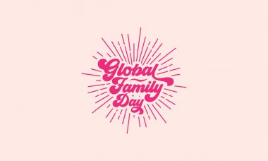 Lettering global family day vintage vector design icon
