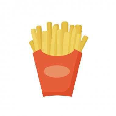 Fast food, French fries in a red package, tasty street food. Cartoon French fries potato in paper box icon, isolated on white background. Vector illustration in flat design. icon