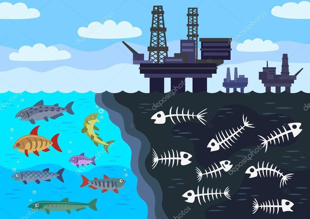 Sea water pollution by oil stock vector strelkov for Does fish oil cause gas