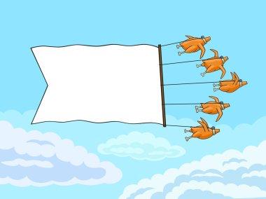 Chicken with banner.